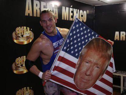 Sam Adonis shows off his Trump flag.