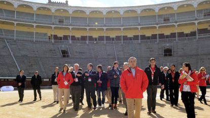 Members of Spain's Olympic Committe and the IOC inspection team at Las ventas bullring.