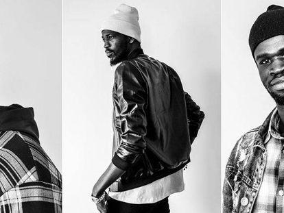 Bamba, Idrissa and Abdou, three 'top manta' models.