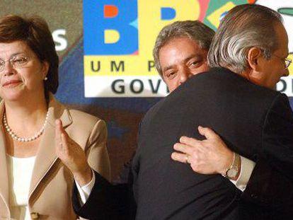 Dilma Rousseff, Lula da Silva and José Dirceu, in 2005.