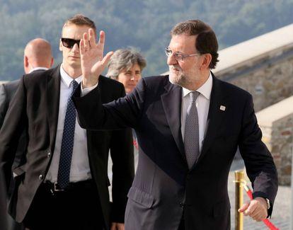Acting Spanish PM Mariano Rajoy at a EU summit in Bratislava.