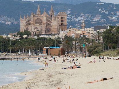 Beachgoers in Mallorca in Spain's Balearic Islands on Monday.