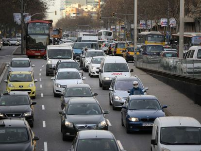 Traffic jams on roads leading into central Barcelona.