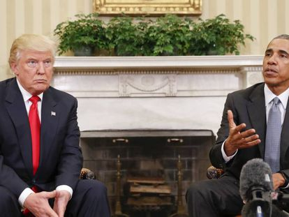 Trump and Obama meet in the Oval Office.