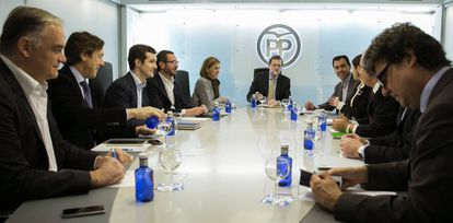 Mariano Rajoy during a meeting with Popular Party leaders in Madrid.