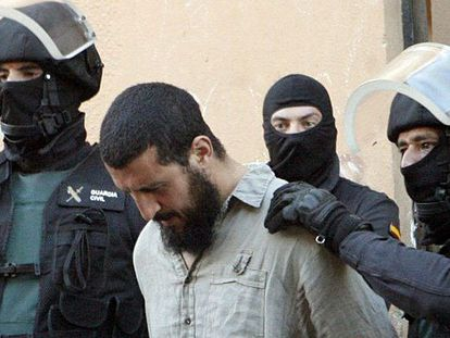 One of the six suspects arrested in Melilla on Friday.