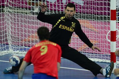 Spanish goalkeeper Arpad Sterbik plays against France at this summer's London Olympics.