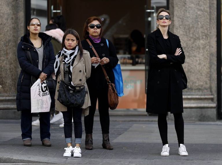 A group of women in central Madrid.