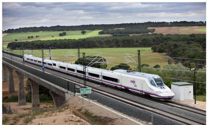 """A so-called """"duck-nosed"""" high-speed AVE train on the Madrid-Valencia line."""