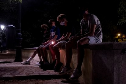 Pablo, Gustavo, Hugo and Dani in Las Vistillas Park in Madrid.