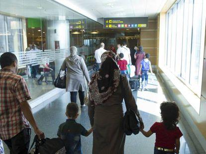 Syrian refugees arriving in Madrid on Thursday.