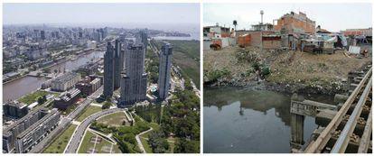 Wealthy Puerto Madero (left) and Barracas.