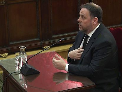 Oriol Junqueras speaks in the Supreme Court today.