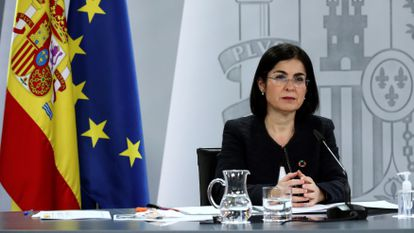 Spanish Health Minister Carolina Darias at a news conference on Wednesday.
