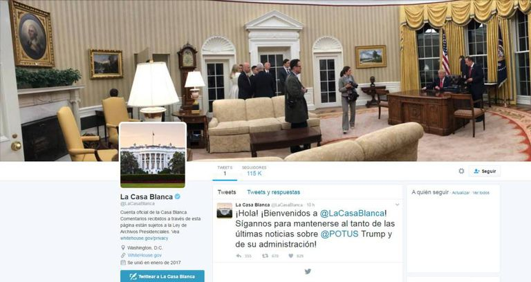 This is how the new Spanish-language White House Twitter account looks.