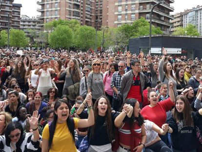 Protest in Pamplona against a court's decision to acquit five men of gang rape.