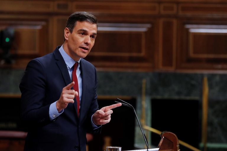 Spanish Prime Minister Pedro Sánchez during today's debate in Congress.
