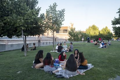 A group of young people in Madrid, where coronavirus cases in the 10-to-19 age bracket have risen sevenfold.
