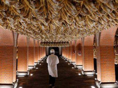 Ham legs drying in Jabugo (Huelva).