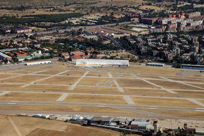 An image taken from the air of the stage for the pope's visit this week, in the airfield at Cuatro Vientos.