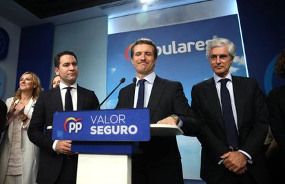 Pablo Casado at the news conference on Sunday night.
