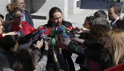 Pablo Iglesias, the leader of Podemos, leaving court on Wednesday.