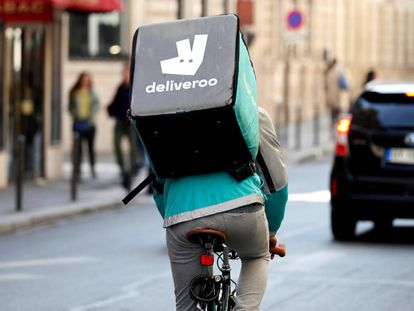 A Deliveroo courier on the streets of Madrid.