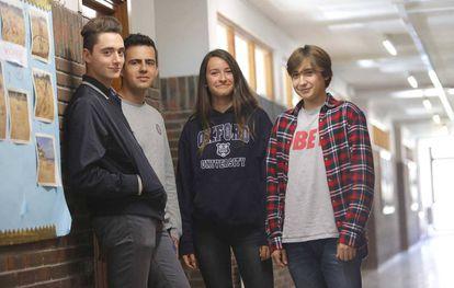 Cayo Sanz, Jorge El Busto, María López and Jon Otaegui at their school in San Sebastián.