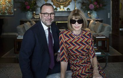 James Costos with editor of US Vogue Anna Wintour in 2015.