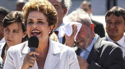 Dilma Rousseff speaks to supporters moments after she was suspended from the presidency.