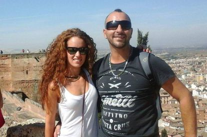 Victim Ana Huete with her partner.