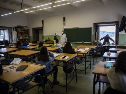 Students at the Rosalia de Castro Secondary School in Santiago de Compostela, Spain.