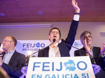 The PP's Alberto Núñez Feijóo after his party's win in Galicia.