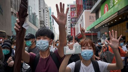 Protesters demonstrate against the national security law in Hong Kong.