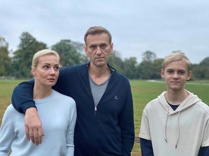 Russian opposition politician Alexei Navalny, his wife Yulia and son Zahar pose for a picture in Berlin in this undated image obtained from social media October 6, 2020.
