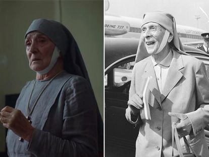 (l) Actress Jane Lapotaire playing Alicia de Battenberg in 'The Crown' and (r) the real princess arriving in London in 1965.