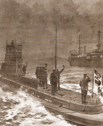 An illustration from June 1916 showing the crew of a German submarine greeting March's ship the Cataluña.