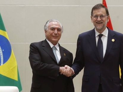 Brazilian president Michel Temer and Spanish acting PM Mariano Rajoy in China.