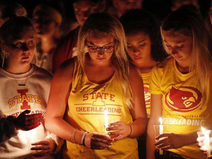A vigil at Iowa State university for Celia Barquín.