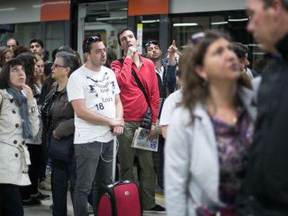 Passengers at Barcelona's main Sants station.