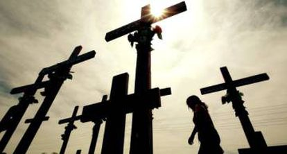 Crosses in memony of women killed in Ciudad Juárez, which has a high femicide rate.