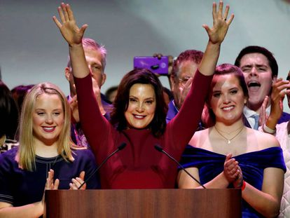 Democratic gubernatorial candidate Gretchen Whitmer celebrates her midterm election victory.