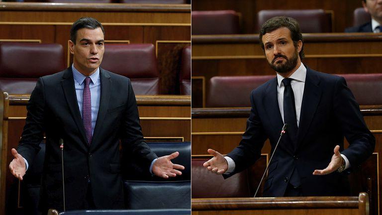 Pedro Sánchez (l) and Pablo Casado in Congress on April 29.