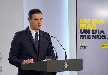 Spanish Prime Minister Pedro Sánchez during Saturday's press conference.