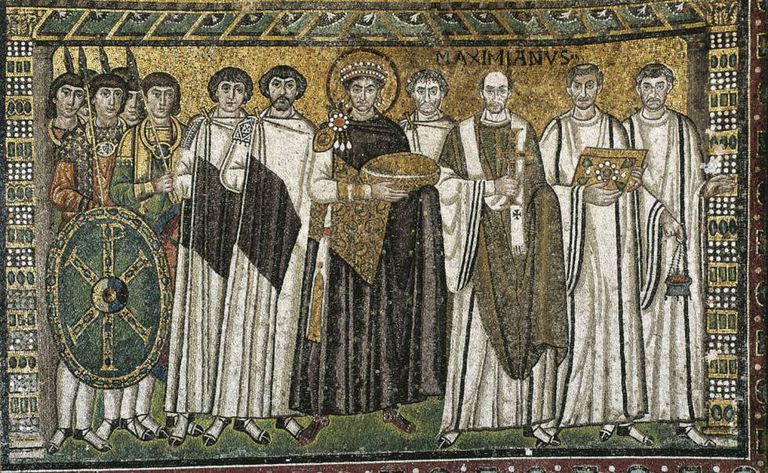 A sixth-century mosaic of Byzantine ruler Justinian and his court in the church of San Vitale in Ravenna, Italy.