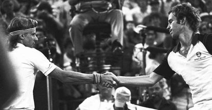 McEnroe (right) shakes hands with arch rival Björn Borg after defeating him in the 1981 US Open final.