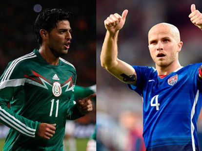 Mexico's Carlos Vela and the United States' Michael Bradley.