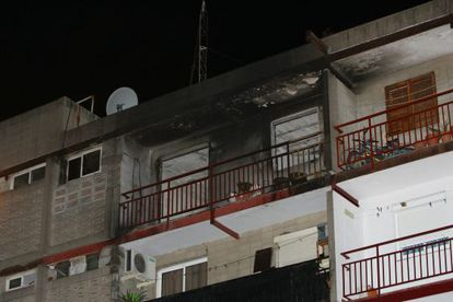 The fourth floor of the building in El Vendrell, Tarragona, where four children lost their lives in a fire Tuesday night.