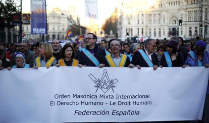 Spanish masons march on International Women's Day.