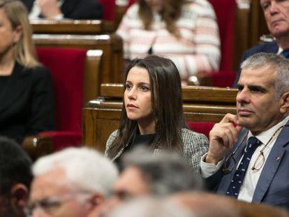 Ciudadanos' Inés Arrimadas and Carlos Carrizosa in the Catalan parliament.